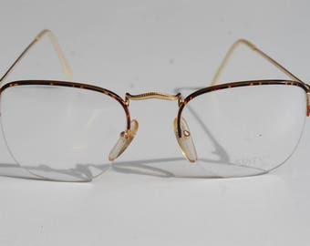 vintage SIXTY Linea Giovani GLC Mod.387 47  mottled with gold gilded adorned arms & bridge half rim eye/sunglasses frames made in Italy New