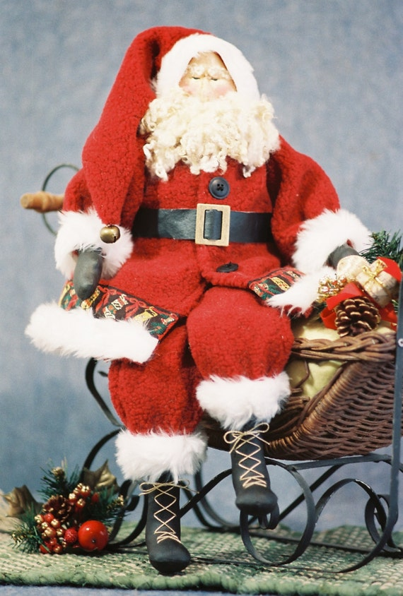 Old St. Nick - Mailed Cloth Doll Pattern - Traditional 22 in Christmas Santa