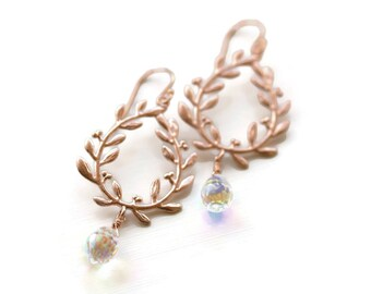 Laurel Leaf Earrings Rose Gold Laurel Wreath Rose Gold Tone Wedding Jewelry Bridal Bride Bridesmaids Gift Idea For Her June Wedding