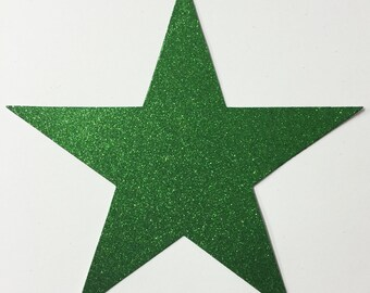 Giant Green Glitter Card Stock Star Die Cuts - 7-3/4 Inch Size - 10 Stars - Scrapbook Art Craft Military Party Decoration Altered Attic