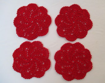 "Crochet Doily Coasters-Red-5"" Diameter (4)"