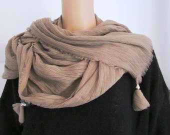 Taupe color tassel and cotton shawl