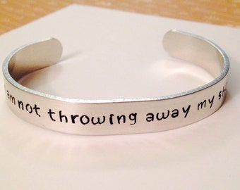 """Hamilton inspired Jewelry - Cuff Bracelet - """"i am not throwing away my shot"""" - Aluminum - Hand Stamped - Broadway Musical Theater - Gift"""