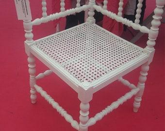 Sweet Cream Rattan Corner Chair with Barley Twist Detail