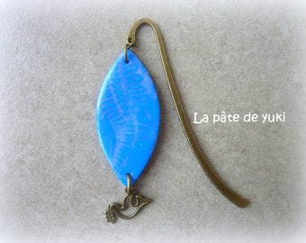 Bookmark marzipan blue purple bronze handmade polymer clay