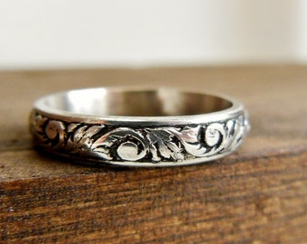 Filigree Wedding Band- Silver Floral Wedding Ring- Unique Wedding Ring For Her- Sterling Silver Wedding Band