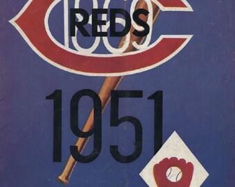 1951 CINCINNATI REDS print - Vintage Baseball Poster