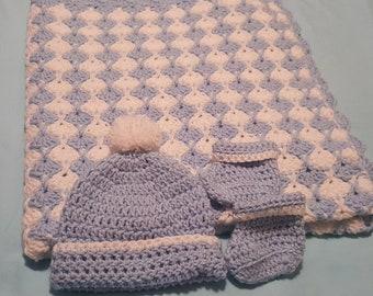 Light blue baby blanket set (34×32)