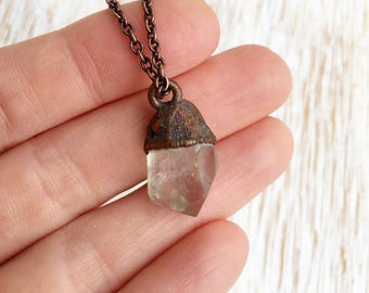 Chunky Quartz Point Necklace, Raw Quartz Pendant, Rough Quartz Necklace, Clear Quartz, Copper Jewelry, Rustic Jewelry, Earthy Boho Necklace