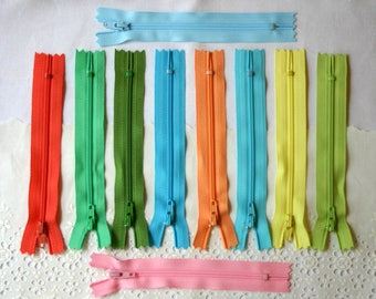 Destash Zips - Destash Clearance - 10 Pastel Zippers - 5 inch YKK Zippers