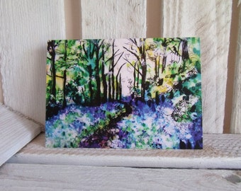 Bluebell Woods Greeting Card - Bluebells - Blank - Blue - Landscape - Woodland Scene