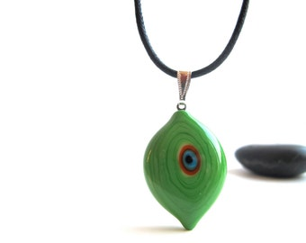 Green Evil Eye Pendant Necklace