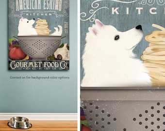 Eskie American Eskimo dog kitchen artwork on gallery wrapped canvas by Stephen Fowler