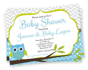 Owl Baby Shower Invitation - Baby Shower Invitations for Boys - Printable Baby Shower Invitations - Custom Baby Shower Invitations