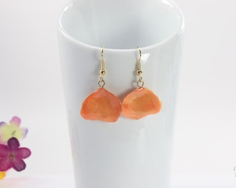 SALE Rose Petal Earrings, Peach Earrings, Real Rose Petal Earrings, Orange Rose Petals, Real Rose Petal Jewelry SALE259