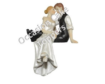 Wedding Cake Topper - Bride and Groom - Sitting on Cake - Polyresin Decoration