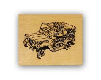 Willys Jeep mounted rubber stamp, army jeep, military, troops, Crazy Mountain Stamps #4