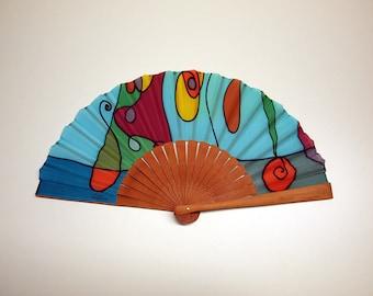 Handpainted Silk hand fan- Wedding hand fan-Abanico- Giveaways-Bridesmaids- Spanish hand fan-Blue-Purple-Green 14x7.5 inches (35 cm x 19 cm)