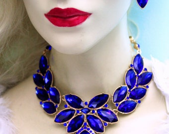 Statement Necklace Earring Set Crystal Rhinestone Bridal Pageant Prom Jewelry Blue