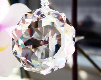 Crystal Sun Catcher, Swarovski Crystal Red Feng Shui Decor, Hanging Crystals, Prism Suncatchers, Gifts for Her