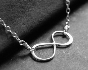 Infinity Necklace, Sterling Silver Infinity Charm, Simple Silver Necklace, Forever
