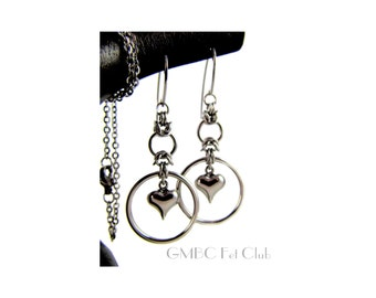 A steel heart captured by a circle of steel - Earrings or Pendant