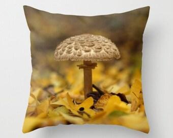 Lepiota Mushroom Pillow Cover Mushroom Print... Photography Prints Nature Photography Decor Nature Lover Woodland Scene