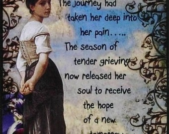 TENDER GRIEVING altered collage art grief therapy ACeO ATc PRINT