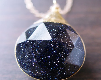 Midnight Goldstone Star Necklace, Cosmos Jewelry