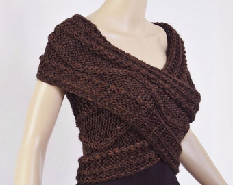 Super Slim - Cross Sweater/Capelet/Neck warmer coffee - ready to ship