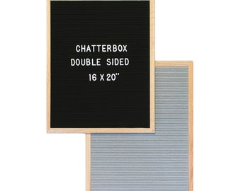 "16x20"" Double-Sided Chatterbox Grey/Black Letter Board  - Oak Frame Letter Board - Messenger Board - Felt Board with 300+ Letter Set"
