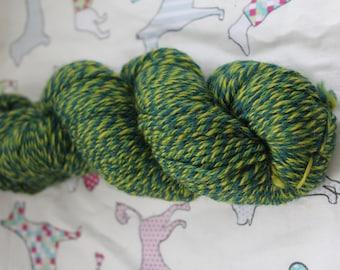Hand spun, 100% merino, DK yarn, in greens. 90gms