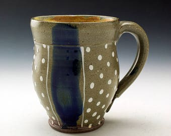 Mug - Blue Striped with Polka Dots