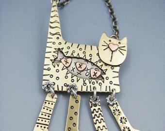 Kitty Necklace, Kitty Pin, Kitty Jewelry, Cat Jewelry, Dangle Leg Kitty RP0129