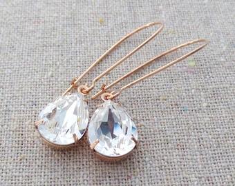 Bridesmaid Gifts, Swarovski Crystal Earrings, Rose Gold Earrings, Swarovski Bridal Earrings, Crystal Rhinestone, Crystal Teardrop Earrings