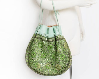 Vintage 1960s Purse - Green Embroidered Mirror Leather Ethnic Drawstring Boho Bag