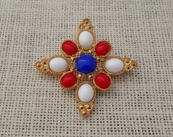 Sarah Coventry Americana Red White And Blue Brooch