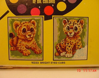 2 Vintage Unpainted Paint By Number Pictures  Bright Eyed  Cubs   16 - 37