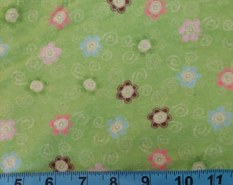 Flannel Fabric - Lime Green Flowers 31 inches