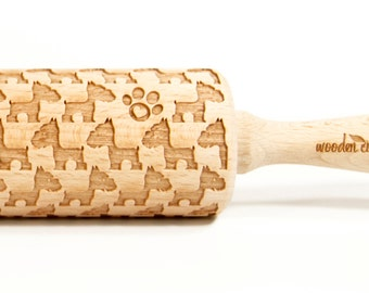 Terrier Embossing rolling pin, Engraved Rolling Pin, Embossed Rolling Pin, Wooden Rolling pin
