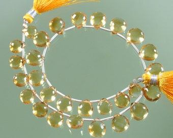 AAA Citrine Micro Faceted Heart Briolettes 6mm - 8mm