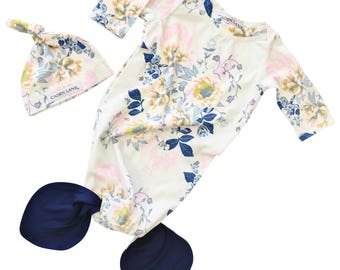 Rory's Blue Floral Baby Girl Newborn Layette Knot Gown & Hat Set   Baby Girl Going Home Outfit   Mermaid Knot Gown