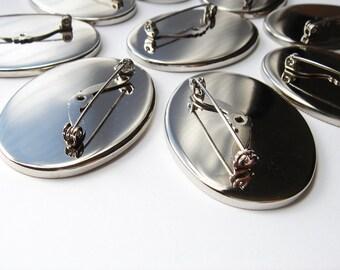 9 Vintage Silver tone Oval Brooch Findings HC135.