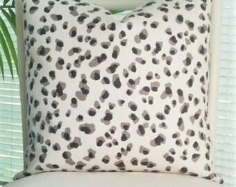 Modern Leopard Animal Print Black Gray White Pillow Cover