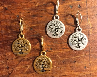 Tree of Life earrings, gold earrings, silver earrings, Bat Mitzvah gift, silver Jewish earrings, gold bat mitzvah earrings, Jewish Jewelry