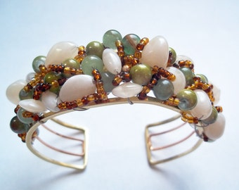 Bead Paved and Wrapped Metal Cuff Bracelet