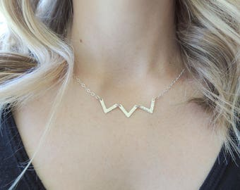 Dainty Chevron Jewelry, Geometric Chevron Necklace, Everyday Dainty Necklace, Chevron Gift For Her, Simple Geometric Layering Necklace
