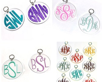 Monogram Keychains. Sweet 16. Birthday presents. bridesmaid gifts personalized gifts sweet sixteen key chains circle monogram. gifts for her