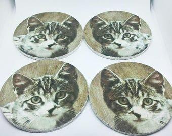 coasters Kitten Cat Set of four Cork decoupage