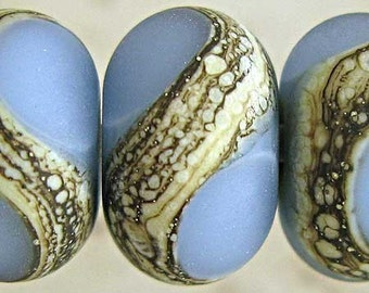 Blue Lampwork Glass Beads Etched Set of 6 Silvered Ivory Small 11x7mm Glacier Velvet